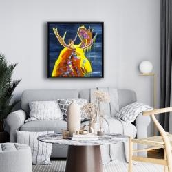 Framed 24 x 24 - Colorful moose