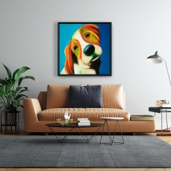 Framed 24 x 24 - Colorful beagle dog