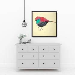 Framed 24 x 24 - Little purple bird illustration