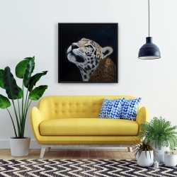 Framed 24 x 24 - Realistic leopard face