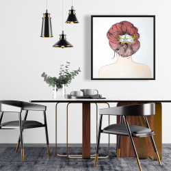 Framed 24 x 24 - Lady with flowers in her hair