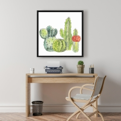 Framed 24 x 24 - Gathering of small cactus