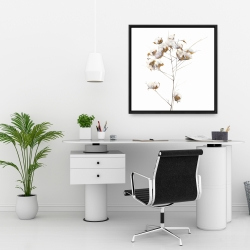 Framed 24 x 24 - Cotton flowers branch