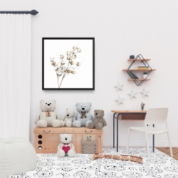 Framed 24 x 24 - A branch of cotton flowers