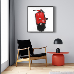 Framed 24 x 24 - Red italian scooter