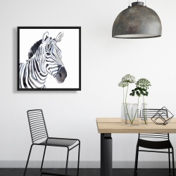 Framed 24 x 24 - Watercolor zebra