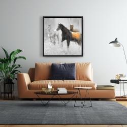 Framed 24 x 24 - Abstract herd of horses
