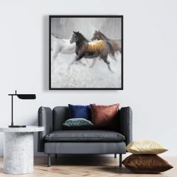 Framed 24 x 24 - Herd of wild horses