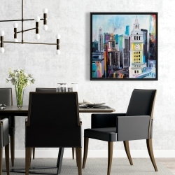 Framed 24 x 24 - Colorful cityscape of manhattan