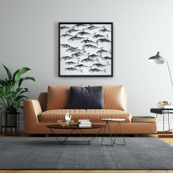 Framed 24 x 24 - Gray school of fish