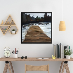 Framed 24 x 24 - Dock and lake