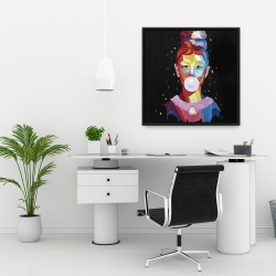 Framed 24 x 24 - Colorful audrey hepburn portrait with bubblegum