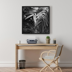 Framed 24 x 24 - Monochrome tropicals leaves