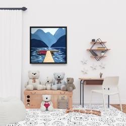 Framed 24 x 24 - Lake, quai & mountains