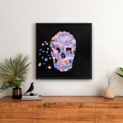 Framed 24 x 24 - Skull of flowers in flight