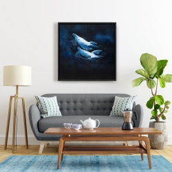 Framed 24 x 24 - Two swimming dolphins