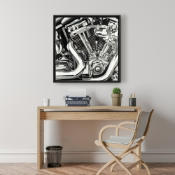 Framed 24 x 24 - Mechanism of a motorcycle