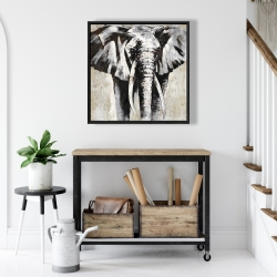 Framed 24 x 24 - Grayscale elephant