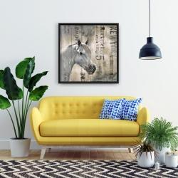 Framed 24 x 24 - Rustic white horse