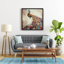 Framed 24 x 24 - Majestic peacock