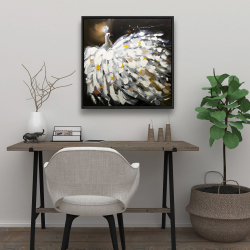 Framed 24 x 24 - Abstract peacock