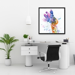 Framed 24 x 24 - Abstract giraffe with color splash