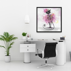 Framed 24 x 24 - Cartoon cat with pink flowers