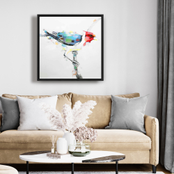 Framed 24 x 24 - Colorful woodpecker