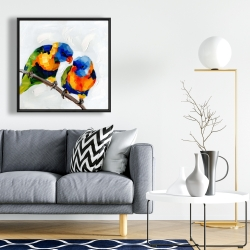 Framed 24 x 24 - Couple of parrots