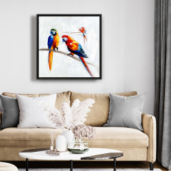 Framed 24 x 24 - Parrots on a branch