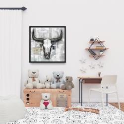 Framed 24 x 24 - Bull skull on an industrial background