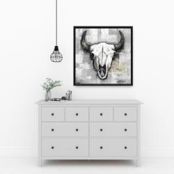 Framed 24 x 24 - Industrial style bull skull