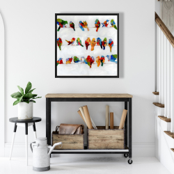 Framed 24 x 24 - A lot of colorful birds on a wire