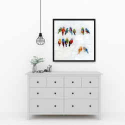 Framed 24 x 24 - Colorful birds on a wire