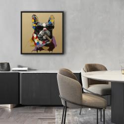 Framed 24 x 24 - Abstract smoking dog