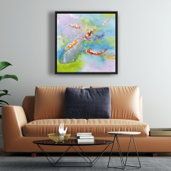 Framed 24 x 24 - Four koi fish swimming
