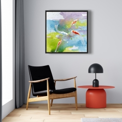 Framed 24 x 24 - Koi fish in colorful water