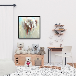 Framed 24 x 24 - Abstract elephant with paint splash