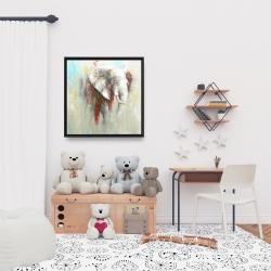 Encadré 24 x 24 - éclats de peinture sur éléphant abstrait