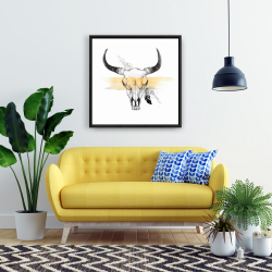 Framed 24 x 24 - Cow skull with feather