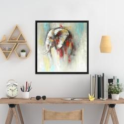 Encadré 24 x 24 - éléphant abstrait avec éclats de peinture