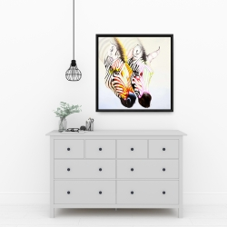 Framed 24 x 24 - Couple of colorful zebras