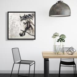 Framed 24 x 24 - Alpha the white horse