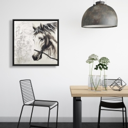 Framed 24 x 24 - Alpha the white horse