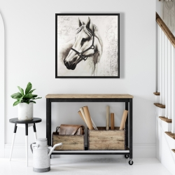 Framed 24 x 24 - Flicka the white horse