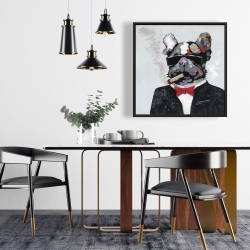Framed 24 x 24 - Smoking gangster bulldog