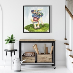 Framed 24 x 24 - Colorful smiling pug