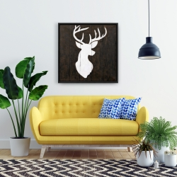 Framed 24 x 24 - White silhouette of a deer on wood