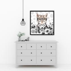 Framed 24 x 24 - Geek cat