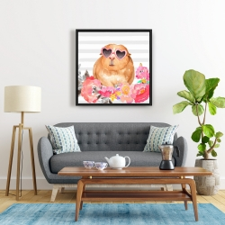 Framed 24 x 24 - Guinea pig with glasses